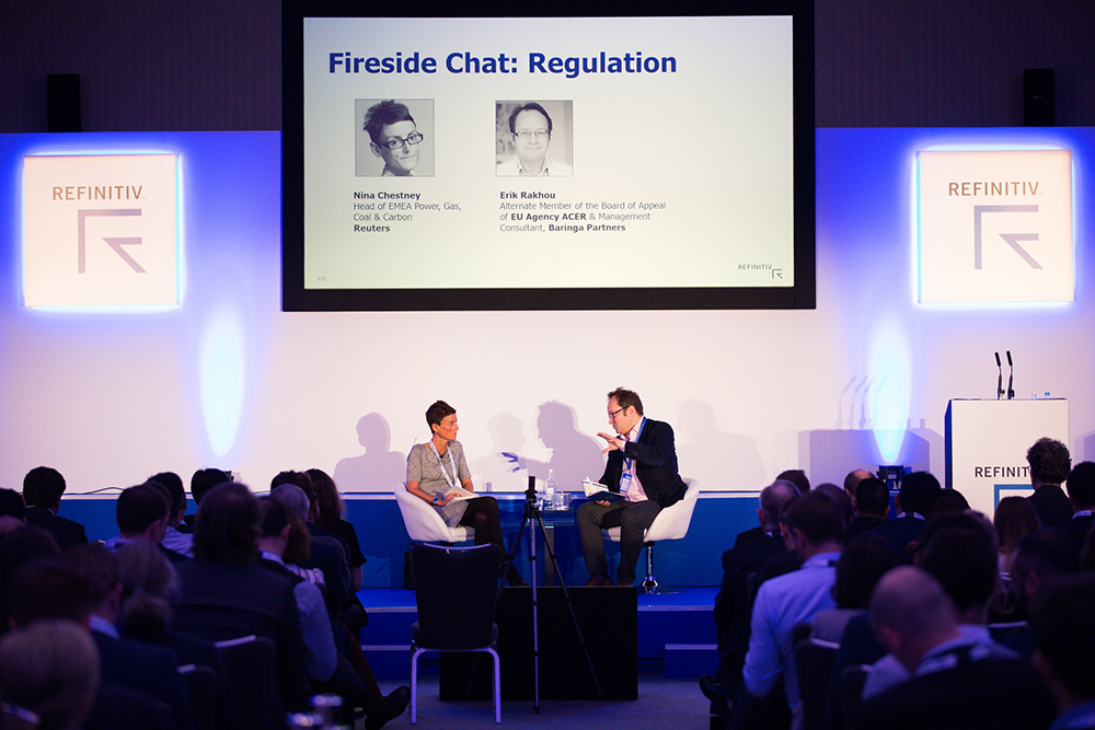The fireside chat on regulation in the energy industry (L-R) Nina Chestney, Erik Rakhou. Energy trading and the power of digitalization