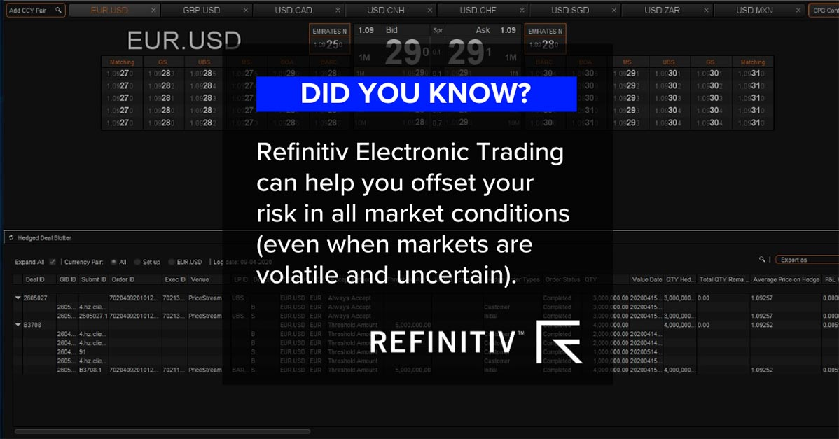 Refinitiv Electronic Trading can help you offset your risk in all market conditions. Growth of electronic trading in Gulf region banks