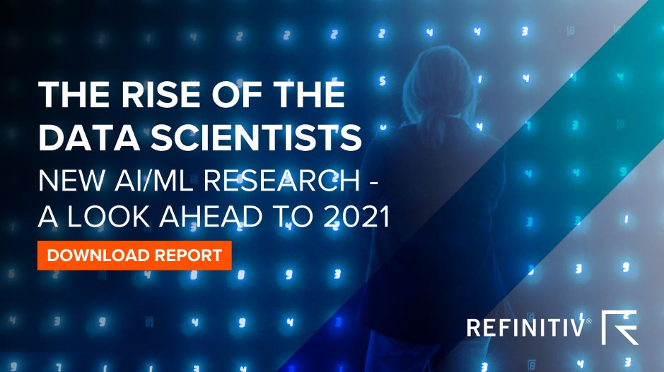Image promoting the report - The rise of the data scientists. New AI/ML research - A look ahead to 2021