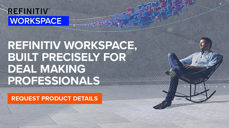 Request Product Details banner for Refinitiv Workspace, built precisely for deal making professionals