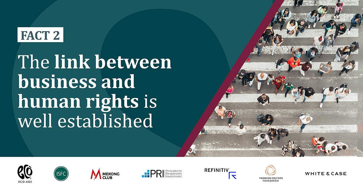 Fact 2: The link between business and human rights is well established. Image from the Integrating social metrics in investment analysis blog